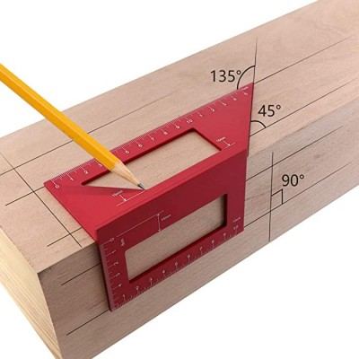Aluminum Alloy Woodworking Scriber T Ruler Multifunctional 45 90 Degree Angle Ruler B - - B07SH46L2Z